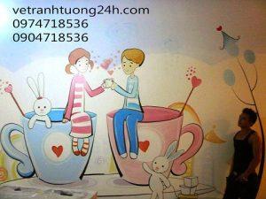 Tranh tường cafe-trà sữa ở royacity tầng B2