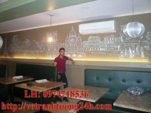Tranh tường cafe vẽ VINCOM BÀ TRIỆU