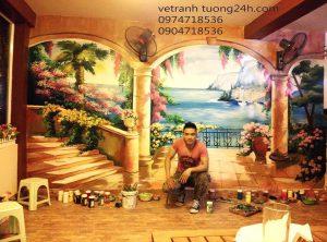Tranh tường cafe a Đạt nam ngư Hà Nội