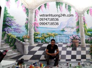 Tranh tường 3D quán cafe vườn Kim Mã, Hà Nội