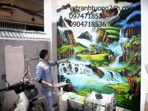 Tranh tường phong cảnh nhà anh NAM ở Bạch Mai, Hà Nội