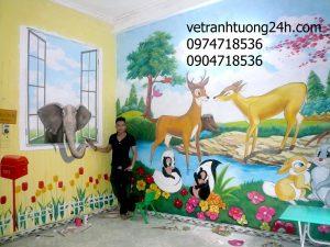 Tranh tường mầm non 3D trường KIDHOUSE 27/191Minh Khai, Hà Nội