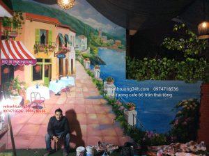 Tranh tường Cafe 66 Trần Thái Tông – Hà Nội