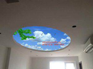 Vẽ tranh tường trần mây – Mẫu 2