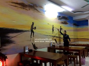 Tranh 3D quán ăn Đà Nẵng tại làng Việt Kiều châu Âu
