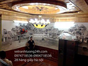 Tranh tuong cafe Ha Noi pho co