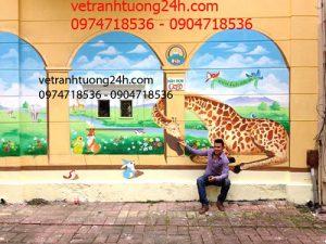 Vẽ tranh tường mầm non Ban Mai School hồ Văn Quán Hà Đông