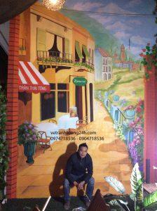 Vẽ tranh tường 3D cafe ngõ 55 Trần Thái Tông Cầu Giấy Hà Nội