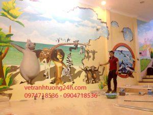 Vẽ tranh tường 3D mầm non IQ SCHOOL 55 Lê Lai Hà Nội