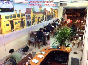 Vẽ tranh tường 3D quán ăn bánh tráng Đã Nẵng làng Việt Kiều Châu Âu Hà Đông Hà Nội