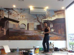 Vẽ tranh tường 3D quán góc Hà Nội 162 Ô Chợ Dừa