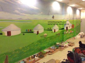 Vẽ tranh tường nhà hàng lẩu dê Mông Cổ 66 Hoàng Cầu mới Hà Nội