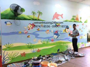 Tranh tường trường mầm non ĐỒNG MẬN NHỎ khách sạn Công Đoàn quảng bá 48 Tô Ngọc Hà Nội
