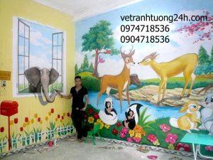 Vẽ tranh tường mầm non Kanguroo 89 Hồ Đền Lừ