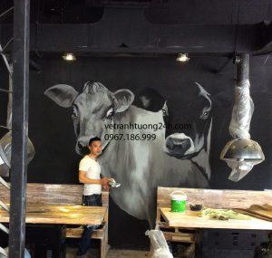 Tranh tường nhà hàng GOGI Phó Đức Chính, Trần Phú Hà Đông