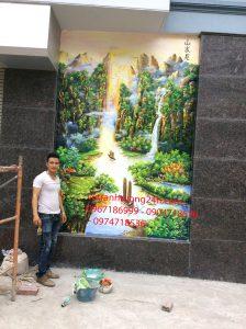Tranh tường phòng khách anh Dũng 5310 Cổ Nhuế Hà Nội