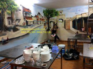 Vẽ tranh tường quán lẩu Bà Téo 104 C6 Tô Hiệu Cầu Giấy Hà Nội