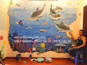 Vẽ tranh tường 3D phòng bé trai cực đẹp