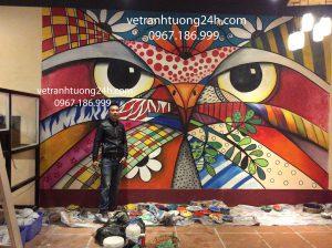 Vẽ tranh tường quán cafe HOLLA