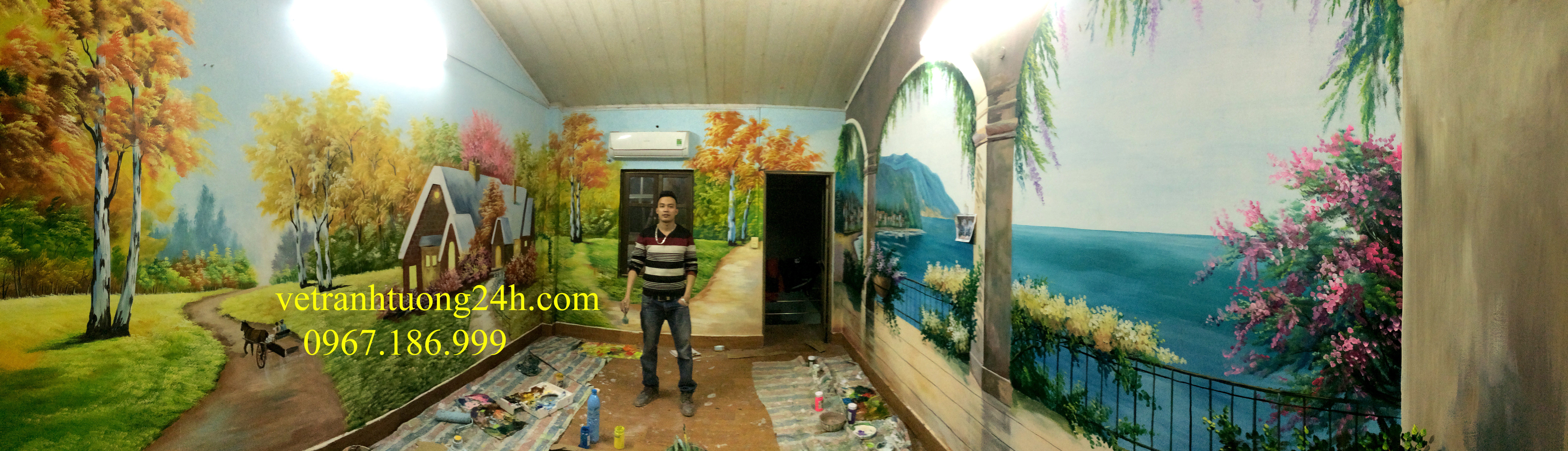 ve tranh tuong nha hangf cafe 3d