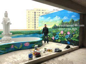 Tranh tường sân thượng bệnh viện u bướu Thọ Xuân