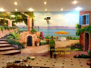 Tranh  tường nhà hàng An Thiên 54 Lê Văn Thiêm Hà Nội