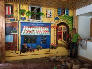Tranh tường nhà hàng MONACO BT4-24 bán đảo Linh Đàm