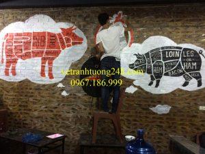 Vẽ tranh tường quán BBQ STUDENT 66 Triều Khúc thanh xuân Hà Nội