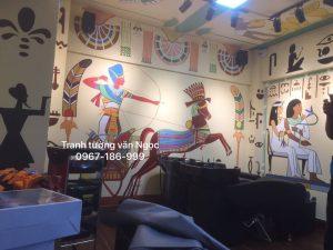 Tranh tường quán tóc phong cách Ai Cập hồ Đền Lừ , Hoàng Mai Hà Nội