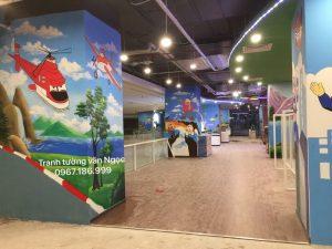 Vẽ tranh tường khu vui chơi sky world chung cư Sun Grand city số 1 lương yên Hà Nội