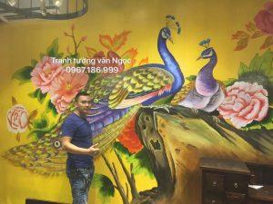 Tranh tường nhà hàng cầm viên quán 159 hoàng ngân Hà Nội