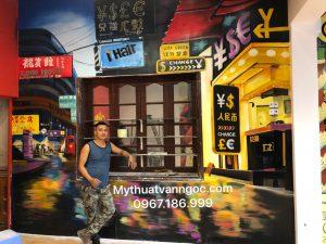 Vẽ tranh tường 3d trà sữa, trà chanh 3d phong cách Hongkong cho giới trẻ