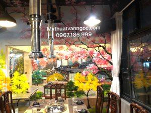 Tranh tường 3d nhà hàng, BBQ, lẩu phong cách Hàn quốc, Nhật Bản