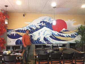 Tranh tường nhà hàng 3D, BBQ, lẩu phong cách Nhật Bản, Hàn Quốc