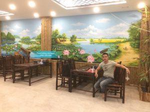 Tranh tường nhà hàng 3D, phong cách Đồng quê